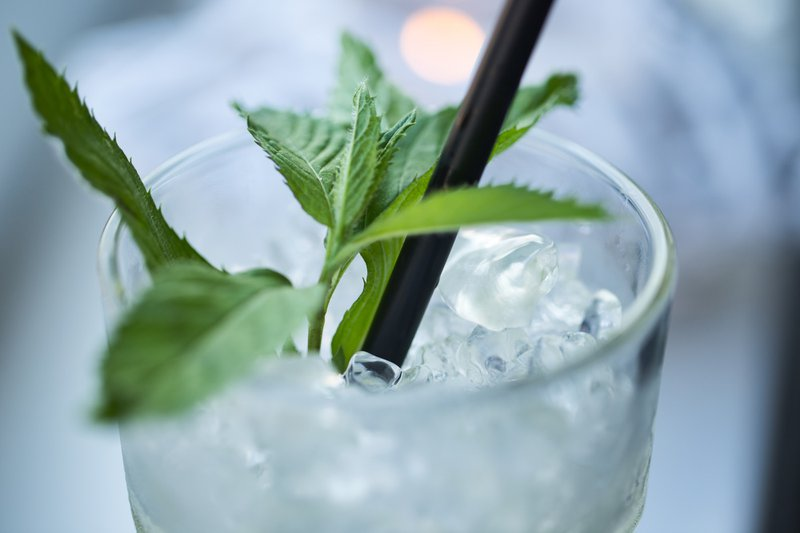Fresh Cocktail with green leafs